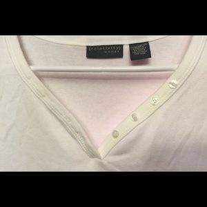 Ladies White VNeck with Button 1X Shirt